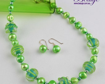 Green Necklace- Jewellery-Lampwork-Gemstone-Pearls-Necklace and Earrings-Handmade-Beauje- -Designer-Jewelry