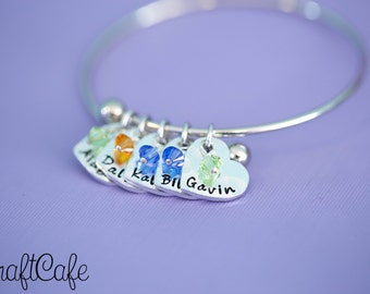 Adjustable Mother's Bracelet - Engraved Jewelry - Custom Engraving