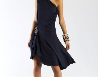 Dress party dress asymmetric Navy blue dress