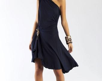 Dress party dress asymmetric Navy blue dress