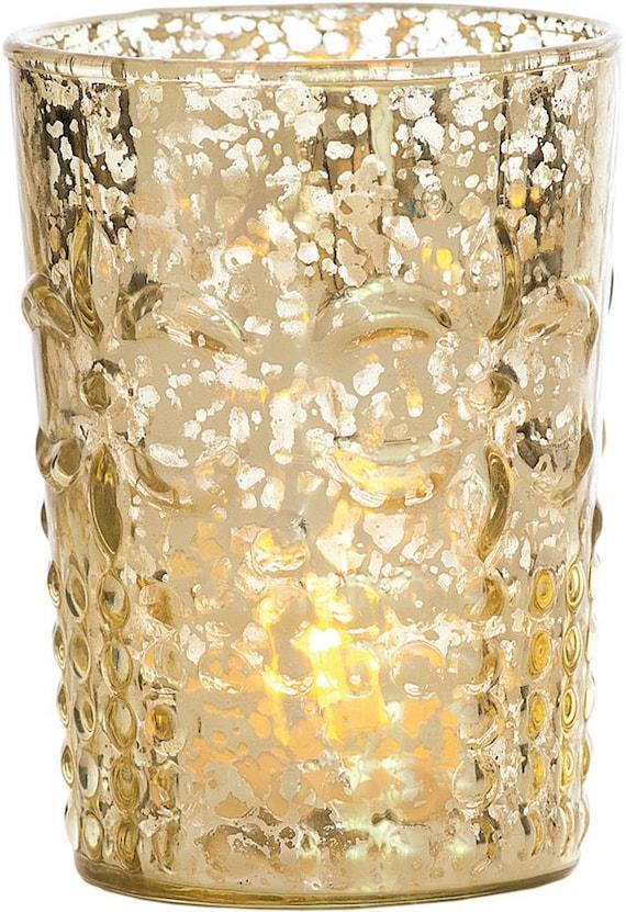 Gold fleur mercury glass votive holder votives tea by