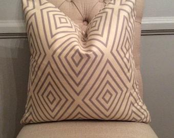 Handmade Decorative Pillow Cover - Grey Beige - Diamond - Geometric - Indoor Outdoor