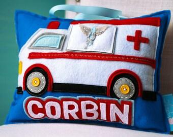 Car Pillows, Boy Tooth Fairy Pillow, Children's Pillow, Personalized Pillow, Tooth Fairy Pillow Boy, Ambulance Pillow, Tooth Fairy Pillow