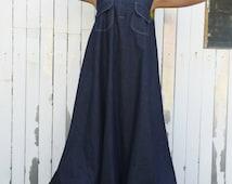 Plus size blue jean maxi dress