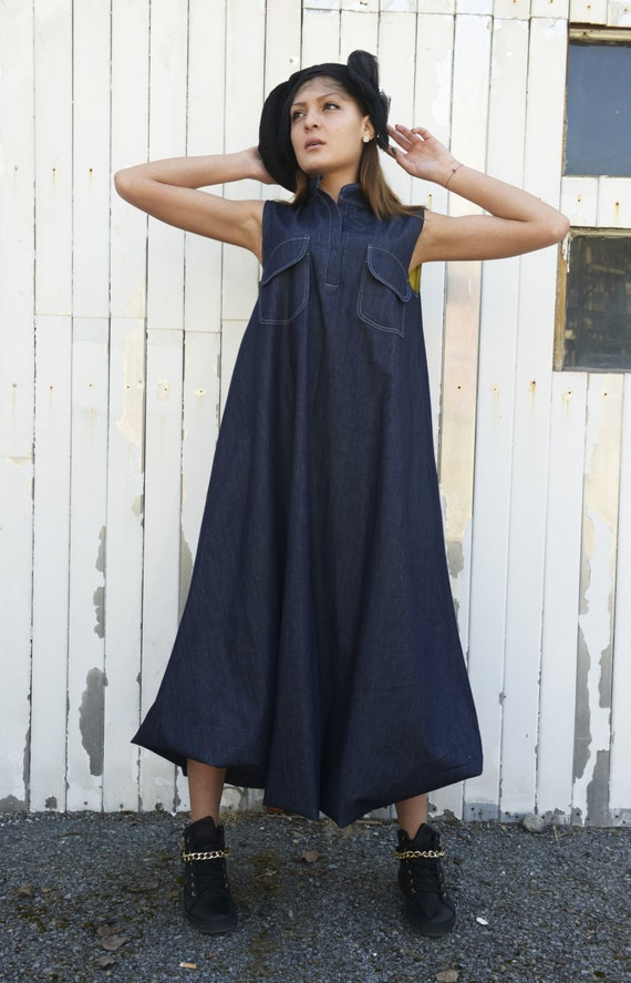 Blue Maxi Dress / Oversize Denim Dress / Kaftan / Plus Size