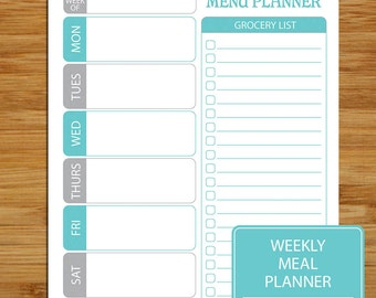 Printable Weekly Meal Planner and Grocery List - Blue- Weekly Meal and Shopper Planner Page - 8.5 x 11 - Grocery List Meal Printable