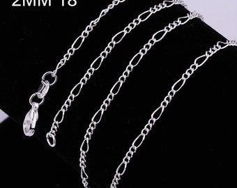 """Sterling Silver 2mm Figaro Chain  - 18"""", 20"""", 22"""", and 24""""  and 30"""" - Free FAST Shipping - 8400402"""