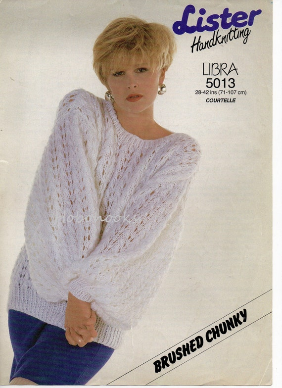 Knitting Pattern Jumper Ladies : Ladies / ladys chunky sweater / jumper 28 to 42 by Hobohooks