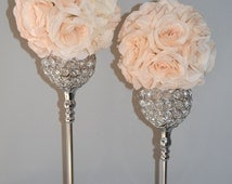 SET OF 2 Silver Bling Rhinestone  Flower Ball Stands OR Candle Holder Wedding Centerpiece