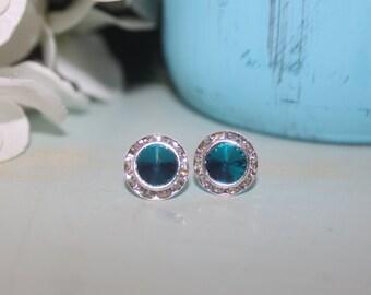 Deep Teal Crystal Post Earrings 13mm Rivoli