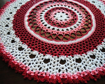 Crochet doily, white, red, and pink cotton doily