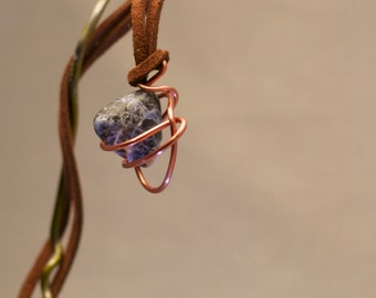Sodalite Pendant with Copper Painted Aluminum Wire Wrap