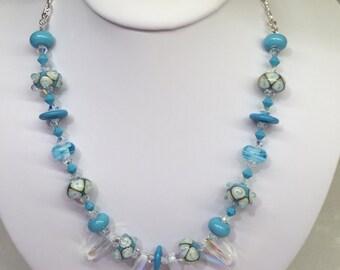 Designer Woman's Handmade Lampwork Beaded Necklace with Swarovski crystals