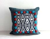 "Bohemian Pillow Cover 18 x 18"", Pom Pom Pillow, Hippie Boho Decor Throw Pillow Case, Bohemian Cushion Cover, Ykk Hidden Zipper, Blue"