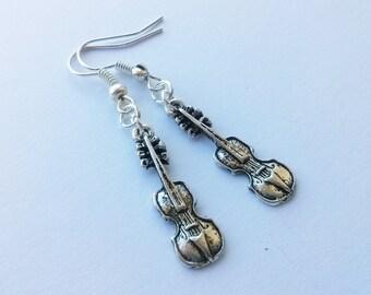 Violin Earrings , Viola Earrings , Silver Earrings , Violinist Gift , Handmade Jewelry , Handmade Jewellery , Music Earrings , Musician Gift