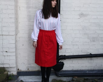 SALE - Vintage 80s Red Button Detail Skirt Size 8-10