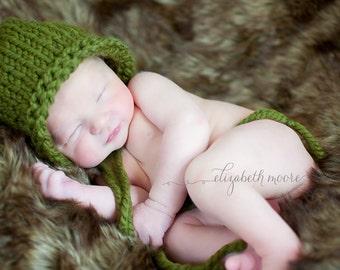 Newborn Knit Bonnet- Cilantro Green (ready to ship)