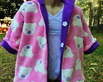 2 side coat for babies and girls - reversible fleece jacket - winter coat for baby girls and toddlers