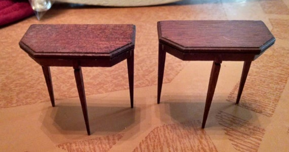 """Vintage Miniature Pair of Demilune Tables  2 1/2"""" Tall"""