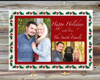 Printable Custom Holiday Christmas Card - Photo Christmas Card - Picture Holiday Card - Digital file or Printed - Personalize Christmas Card
