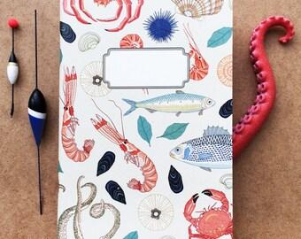 notebook journal - A5 -original cute pattern- seafood
