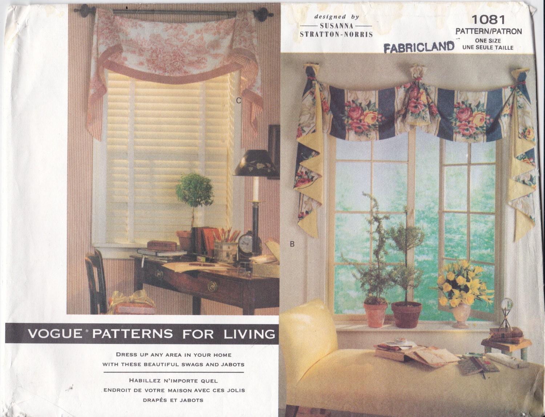 Vogue craft pattern 1081 designer window treatment by for Professional window treatment patterns