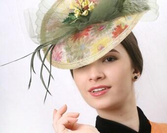 Romantic spring fascinator, Melbourne cup fascinator, Olive green hat, Kentucky derby hat, Royal Ascot Fascinator, derby headpiece