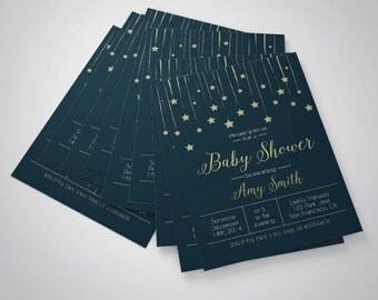Stars baby shower invitation printable baby shower starry sky baby shower template, printable shower template, night sky stars