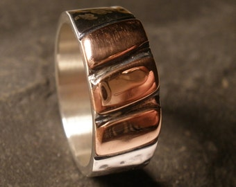 mens rustic steampunk wedding ring band heavy silver handmade rustic copper bronze oxidize ring artisan commitment - Steampunk Wedding Rings