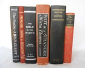 Vintage Black and Rust Book Decor with Gold & Silver Titles