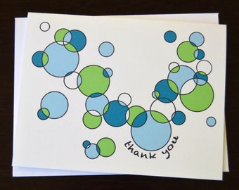 Blue/Green or Pink/Orange Circles Thank You Card Set