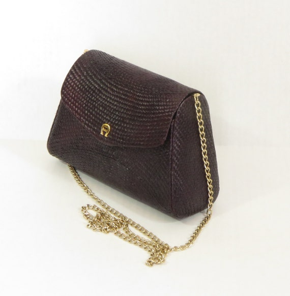 Vintage Etienne Aigner Deep Purple Straw Evening Bag With Gold