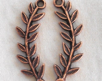 2 antique copper plated pewter leaf connector bars, left and right, Nunn Designs, 32 x 3mm, C8601