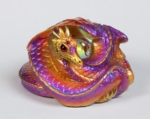 Coiled Dragon Handmade Figurine-- Violet Flame -- Windstone Editions -- Beautifully Detailed Drake Statue -- 505-VF