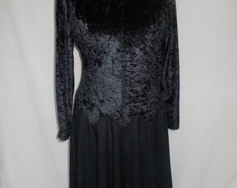 Vintage black dress 80s black crushed velvet dress size large