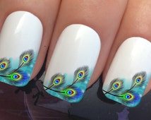 nail decals #382 peacock eye feathers french tip water transfers stickers manicure art set x12