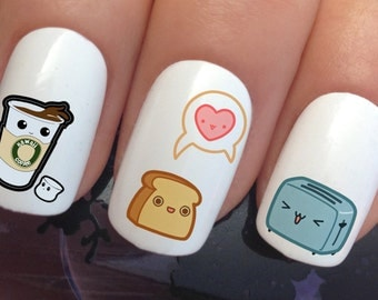 nail decals #336 kawaii cute breakfast toaster coffee toast love heart water transfers stickers manicure art set x24