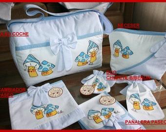 PACK CART. Includes: Bag diaper walk, changer ride, toiletry bag, stroller, Duo Chupete-biberon.