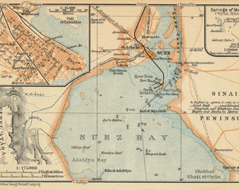1929 Suez Egypt Antique Map