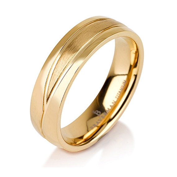 Mens Wedding Band Classic Brushed Matte 14K Gold By BravermanOren