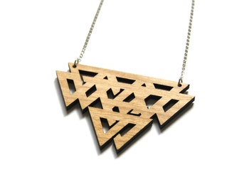 Geometric necklace, wooden jewel triangle pattern, celtic inspiration, natural wood laser cut, graphic jewelry, original gift made in France