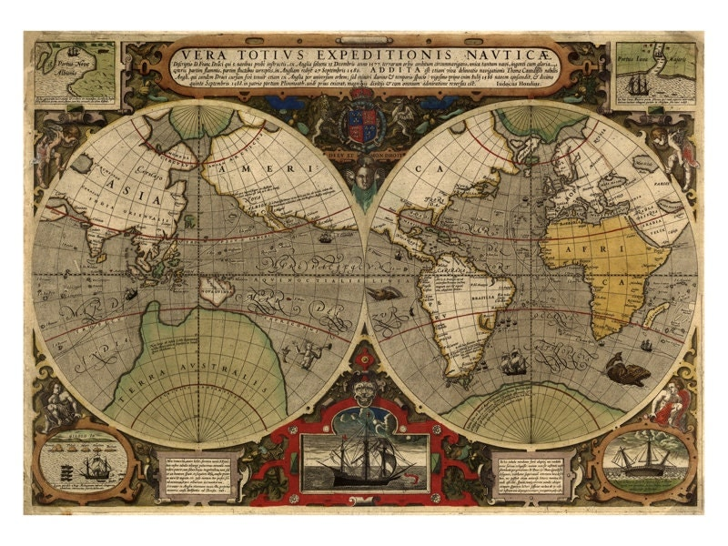 Hondius map of the world antique map wall decor restoration hondius map of the world antique map wall decor restoration style vintage map print old maps and prints world map art poster gumiabroncs Gallery