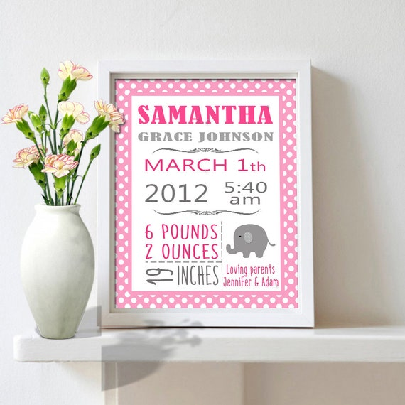 Personalized Birth Stats Custom Baby Girl Birth By MyPrintableArts