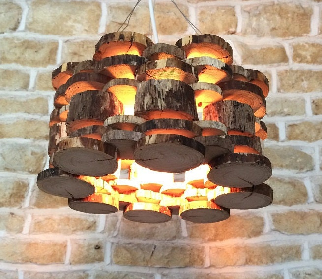 Wood Light Fixture Rustic Ceiling Light Rustic Light Unusual: Suspended Ceiling Light Pendant Made From Logs Rustic Natural