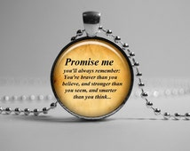 Promise me Pooh pendant necklace. Winnie the Pooh quote pendant necklace. inspirational quote. . jewelry Fairy Tale  A.A. Milne.