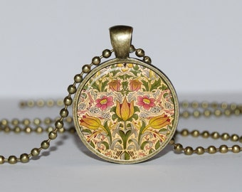 ART PENDANT William Morris  Blue NECKLACE Charm botanical jewelry vintage necklace william morris fabric Jewelry for Her