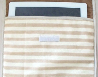"""I pad cover, i pad sleeve, tablet case, E reader cover, universal cover, internal size,  10.5"""" L x 8.5"""" D striped fabric"""