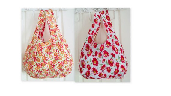Reversible boho slouch shoulder bag, versatile bag for holidays, tote bag , cotton carry all, red and orange floral fabric
