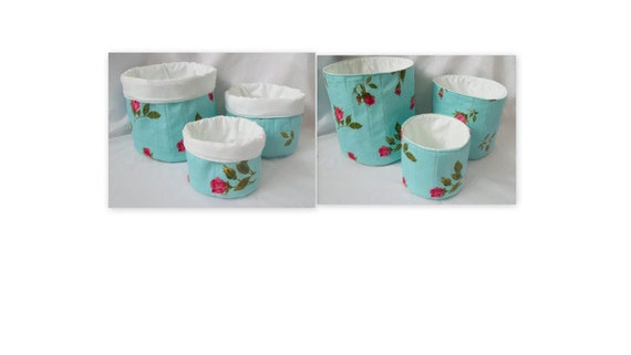 fabric storage tubs, quilted bins, stackable fabric baskets, quilted tubs, rose and turquoise fabric