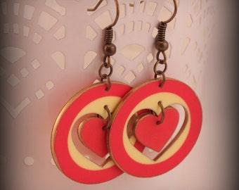 Heart Earrings - Heart Jewelry - Red Earrings - Circle Earrings - Cut-out Earrings - Red - Heart - Shrink Plastic - Fashion - Art - Style